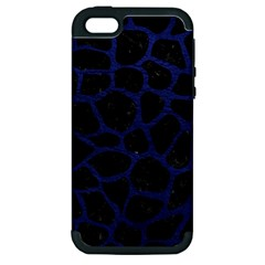 Skin1 Black Marble & Blue Leather (r) Apple Iphone 5 Hardshell Case (pc+silicone) by trendistuff