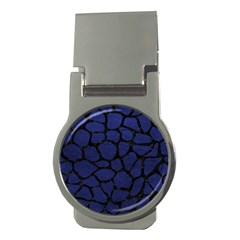 Skin1 Black Marble & Blue Leather Money Clip (round)