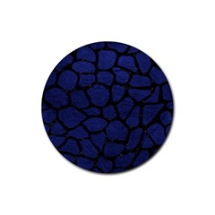 Skin1 Black Marble & Blue Leather Rubber Coaster (round) by trendistuff