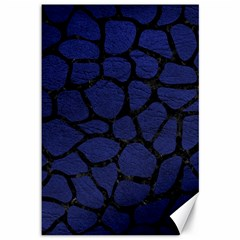 Skin1 Black Marble & Blue Leather Canvas 12  X 18  by trendistuff