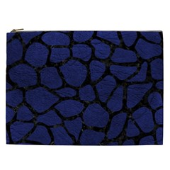 Skin1 Black Marble & Blue Leather Cosmetic Bag (xxl) by trendistuff