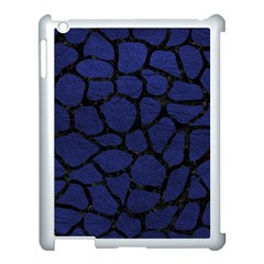 Skin1 Black Marble & Blue Leather Apple Ipad 3/4 Case (white) by trendistuff