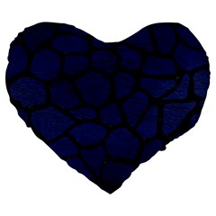 Skin1 Black Marble & Blue Leather Large 19  Premium Heart Shape Cushion by trendistuff