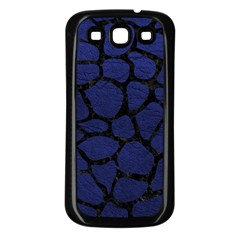 Skin1 Black Marble & Blue Leather Samsung Galaxy S3 Back Case (black) by trendistuff