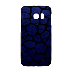 Skin1 Black Marble & Blue Leather Samsung Galaxy S6 Edge Hardshell Case by trendistuff