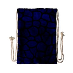 Skin1 Black Marble & Blue Leather Drawstring Bag (small) by trendistuff