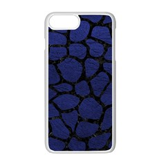 Skin1 Black Marble & Blue Leather Apple Iphone 7 Plus White Seamless Case by trendistuff