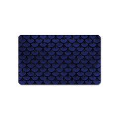 Scales3 Black Marble & Blue Leather (r) Magnet (name Card) by trendistuff