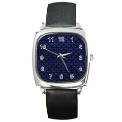 Scales3 Black Marble & Blue Leather (r) Square Metal Watch by trendistuff