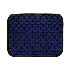 Scales3 Black Marble & Blue Leather (r) Netbook Case (small) by trendistuff