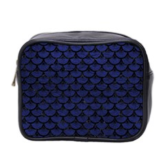 Scales3 Black Marble & Blue Leather (r) Mini Toiletries Bag (two Sides) by trendistuff