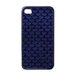 Scales3 Black Marble & Blue Leather (r) Apple Iphone 4 Case (black) by trendistuff
