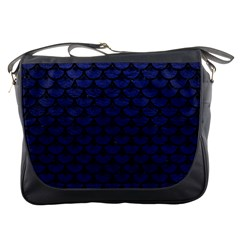 Scales3 Black Marble & Blue Leather (r) Messenger Bag by trendistuff