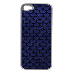 Scales3 Black Marble & Blue Leather (r) Apple Iphone 5 Case (silver) by trendistuff