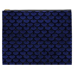 Scales3 Black Marble & Blue Leather (r) Cosmetic Bag (xxxl) by trendistuff