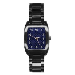 Scales3 Black Marble & Blue Leather (r) Stainless Steel Barrel Watch by trendistuff