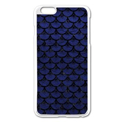 Scales3 Black Marble & Blue Leather (r) Apple Iphone 6 Plus/6s Plus Enamel White Case by trendistuff