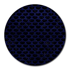 Scales3 Black Marble & Blue Leather Round Mousepad