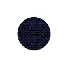 Scales3 Black Marble & Blue Leather Golf Ball Marker (4 Pack) by trendistuff