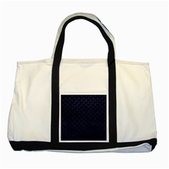 Scales3 Black Marble & Blue Leather Two Tone Tote Bag by trendistuff