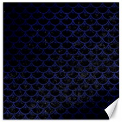 Scales3 Black Marble & Blue Leather Canvas 12  X 12  by trendistuff