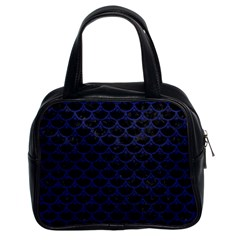 Scales3 Black Marble & Blue Leather Classic Handbag (two Sides) by trendistuff
