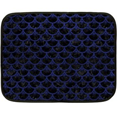 Scales3 Black Marble & Blue Leather Double Sided Fleece Blanket (mini) by trendistuff