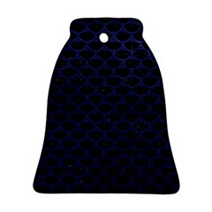 Scales3 Black Marble & Blue Leather Bell Ornament (two Sides) by trendistuff