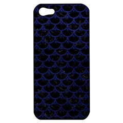 Scales3 Black Marble & Blue Leather Apple Iphone 5 Hardshell Case by trendistuff