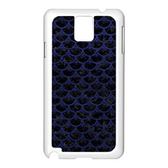 Scales3 Black Marble & Blue Leather Samsung Galaxy Note 3 N9005 Case (white) by trendistuff