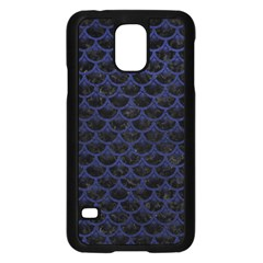 Scales3 Black Marble & Blue Leather Samsung Galaxy S5 Case (black) by trendistuff