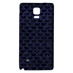 Scales3 Black Marble & Blue Leather Samsung Note 4 Hardshell Back Case by trendistuff