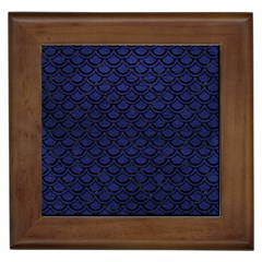 Scales2 Black Marble & Blue Leather (r) Framed Tile by trendistuff