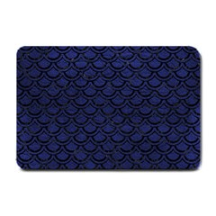 Scales2 Black Marble & Blue Leather (r) Small Doormat by trendistuff