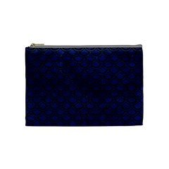 Scales2 Black Marble & Blue Leather (r) Cosmetic Bag (medium) by trendistuff