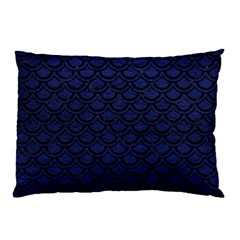 Scales2 Black Marble & Blue Leather (r) Pillow Case (two Sides) by trendistuff