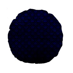 Scales2 Black Marble & Blue Leather (r) Standard 15  Premium Round Cushion  by trendistuff