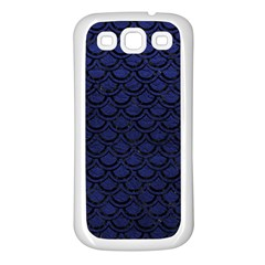 Scales2 Black Marble & Blue Leather (r) Samsung Galaxy S3 Back Case (white) by trendistuff