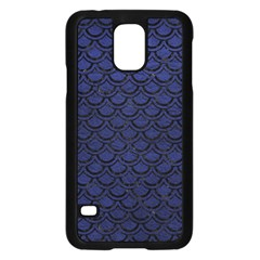 Scales2 Black Marble & Blue Leather (r) Samsung Galaxy S5 Case (black) by trendistuff