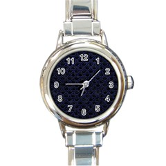 Scales2 Black Marble & Blue Leather Round Italian Charm Watch by trendistuff