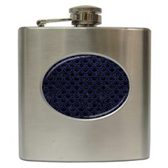 Scales2 Black Marble & Blue Leather Hip Flask (6 Oz) by trendistuff