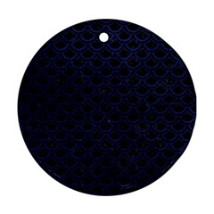Scales2 Black Marble & Blue Leather Round Ornament (two Sides) by trendistuff
