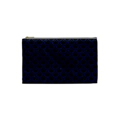 Scales2 Black Marble & Blue Leather Cosmetic Bag (small) by trendistuff