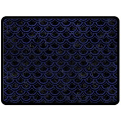 Scales2 Black Marble & Blue Leather Double Sided Fleece Blanket (large) by trendistuff