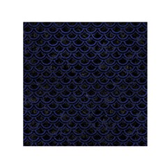 Scales2 Black Marble & Blue Leather Small Satin Scarf (square) by trendistuff