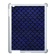 Scales1 Black Marble & Blue Leather (r) Apple Ipad 3/4 Case (white) by trendistuff