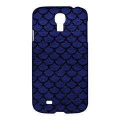 Scales1 Black Marble & Blue Leather (r) Samsung Galaxy S4 I9500/i9505 Hardshell Case by trendistuff