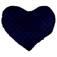 Scales1 Black Marble & Blue Leather (r) Large 19  Premium Flano Heart Shape Cushion by trendistuff