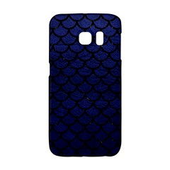 Scales1 Black Marble & Blue Leather (r) Samsung Galaxy S6 Edge Hardshell Case by trendistuff