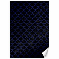 Scales1 Black Marble & Blue Leather Canvas 12  X 18  by trendistuff